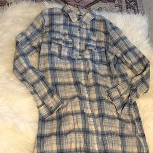 Free People Long Button-down Flannel